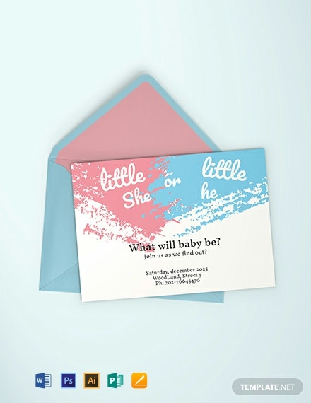 Free Gender Reveal Party Invitation Template