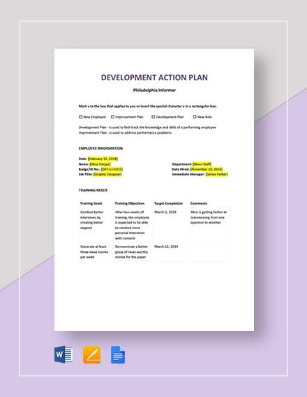 Development Action Plan Template