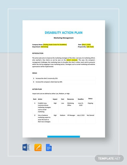 Disability Action Plan Template