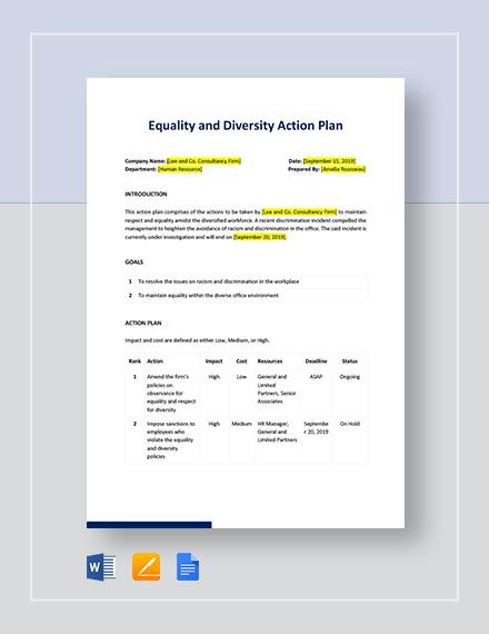 Diversity Action Plan Template