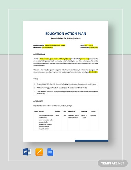 Education Action Plan