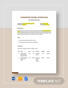 Elementary School Action Plan Template