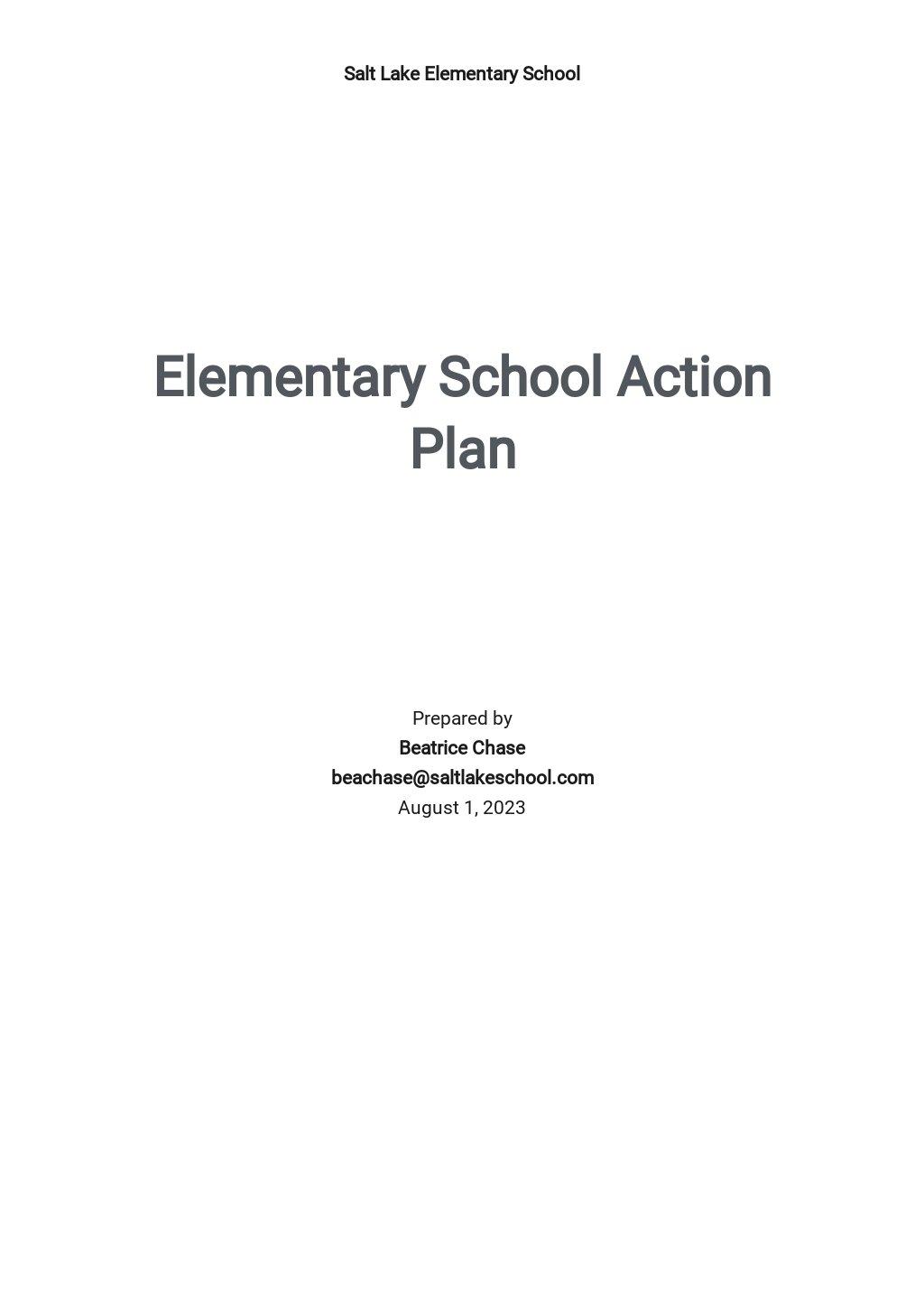 Elementary School Action Plan Template