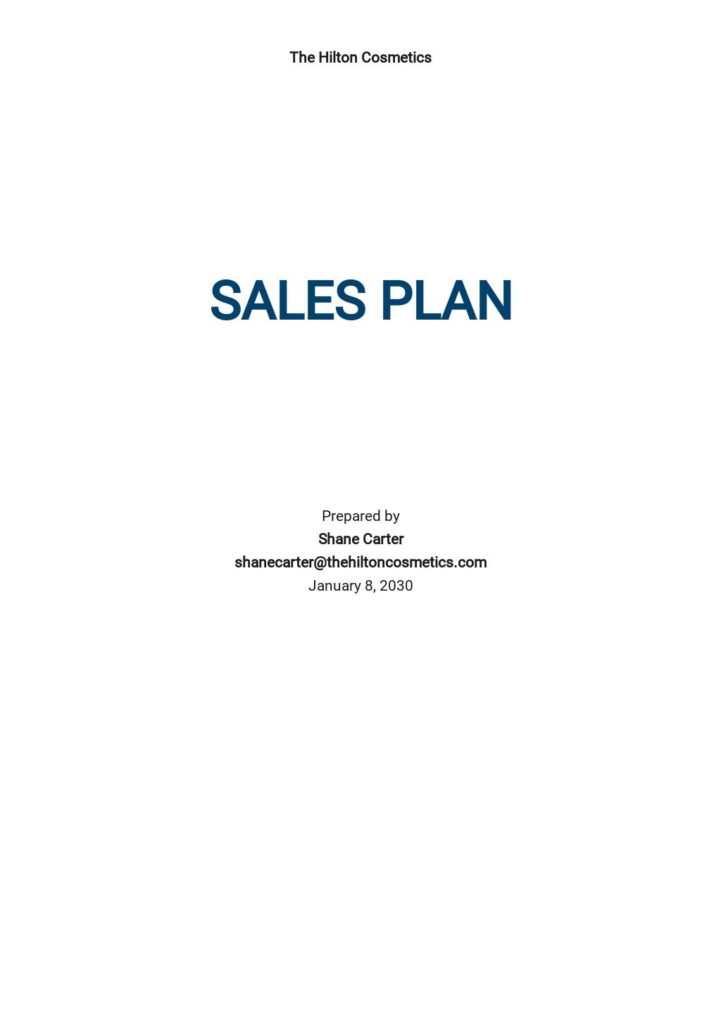 Generic Sales Plan Template
