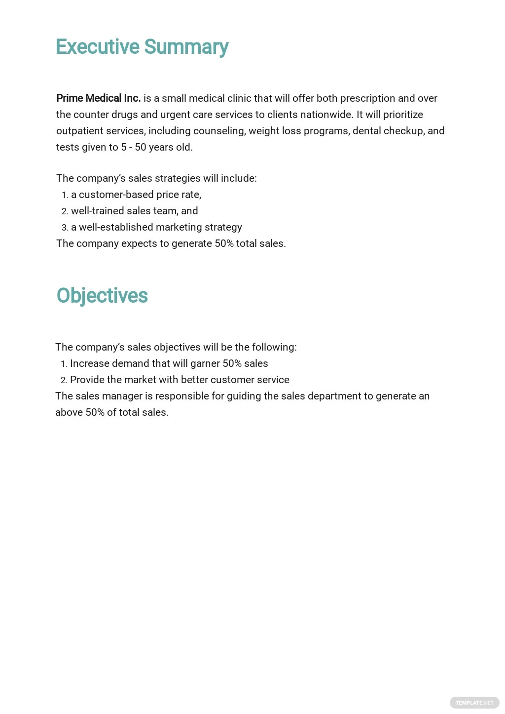 Medical Clinic Sales Plan Template 1.jpe