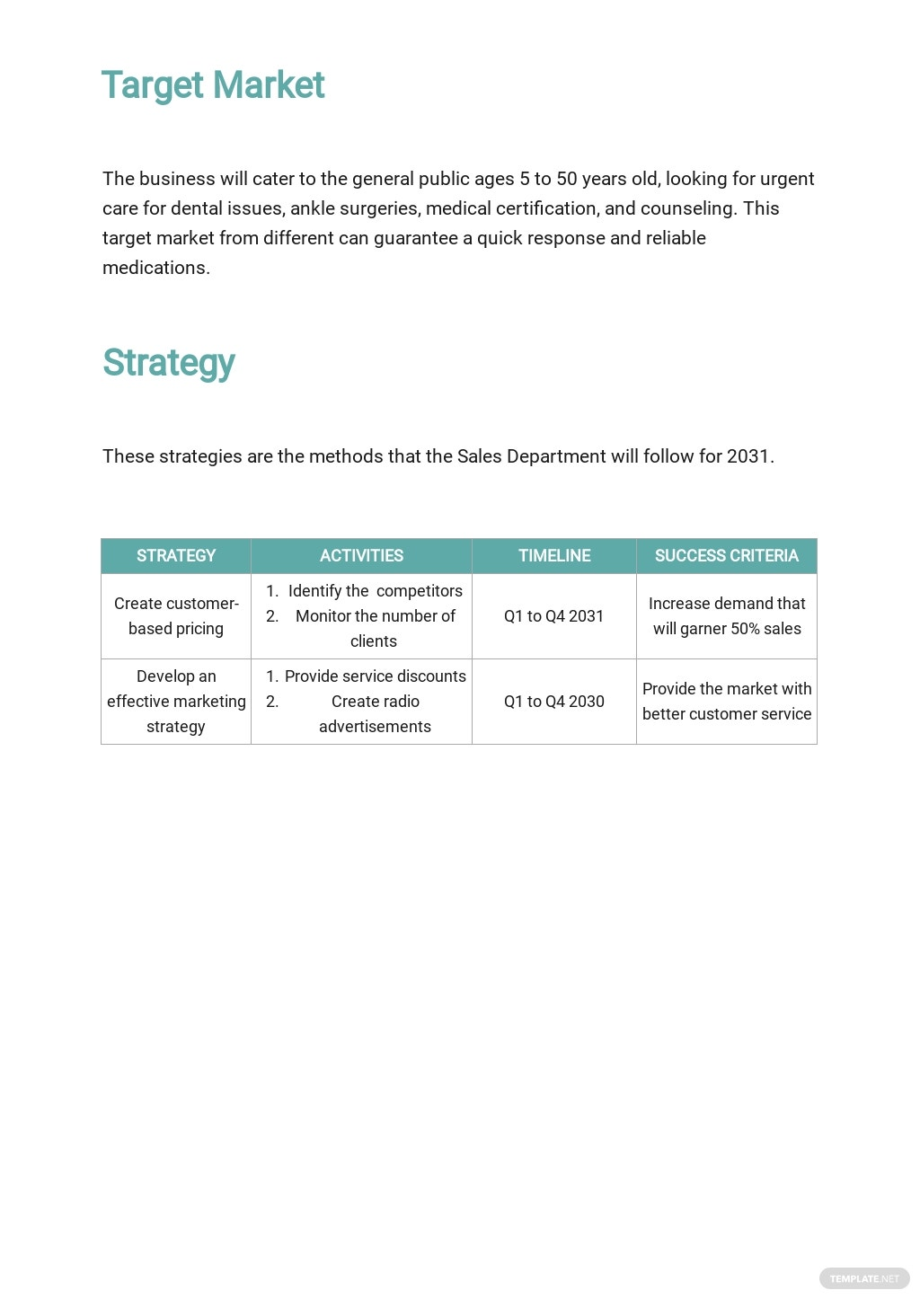 Medical Clinic Sales Plan Template 2.jpe