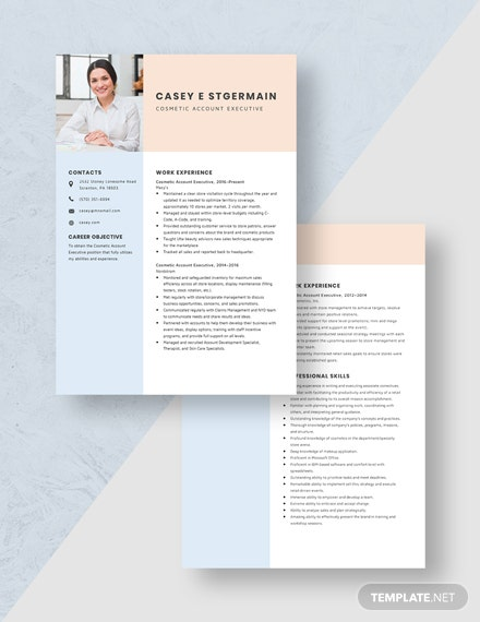 Cosmetic Account Executive Resume Download