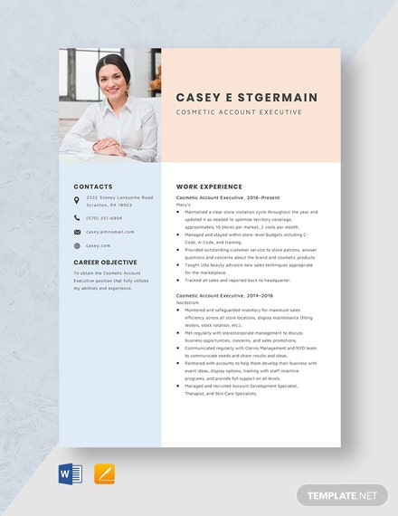 Cosmetic Account Executive Resume