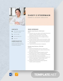 Cosmetic Account Executive Resume Template