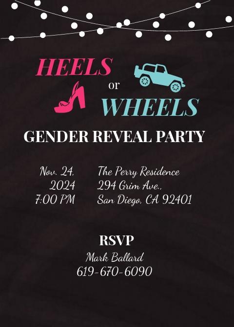 Chalkboard Gender Reveal Invitation Template