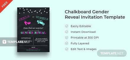 Free Chalkboard Gender Reveal Invitation Template