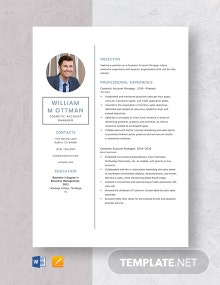 Cosmetic Account Manager Resume Template