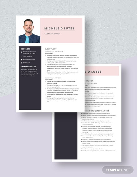 Cosmetic Buyer Resume Download