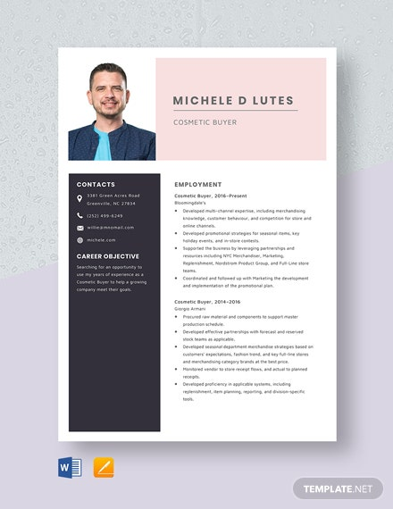 Cosmetic Buyer Resume Template