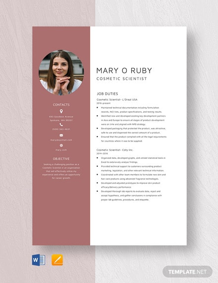 Cosmetic Scientist Resume Template