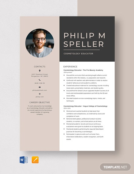 Cosmetology Educator Resume Template