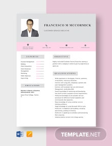 Customer Service Executive Resume Template