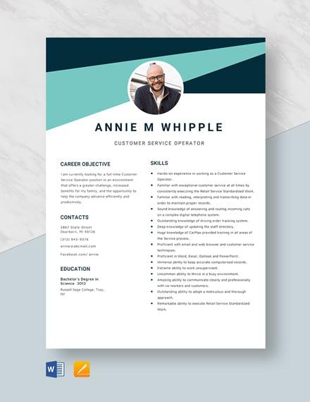 Customer Service Operator Resume Template