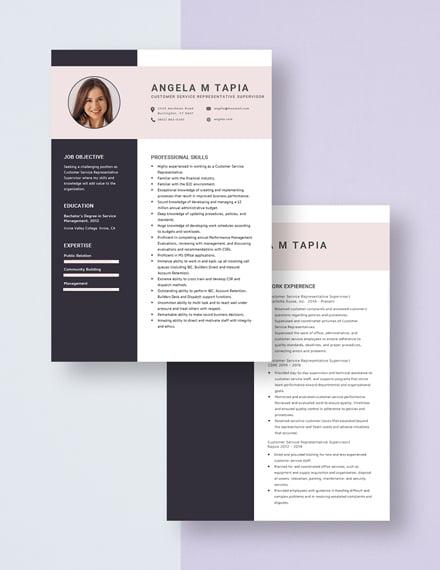 Customer Service Representative Supervisor Resume Download