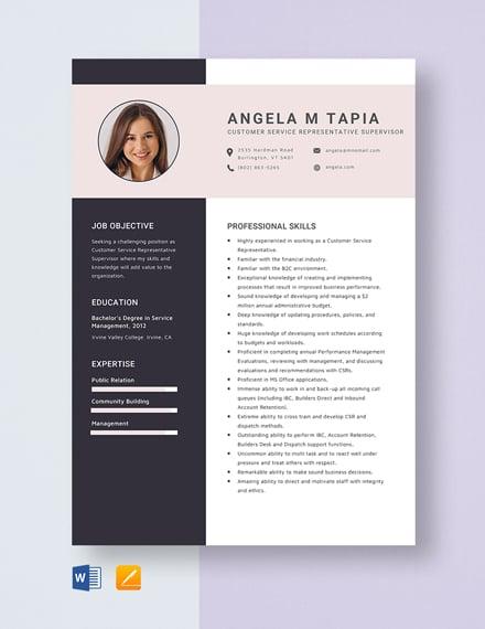 Customer Service Representative Supervisor Resume