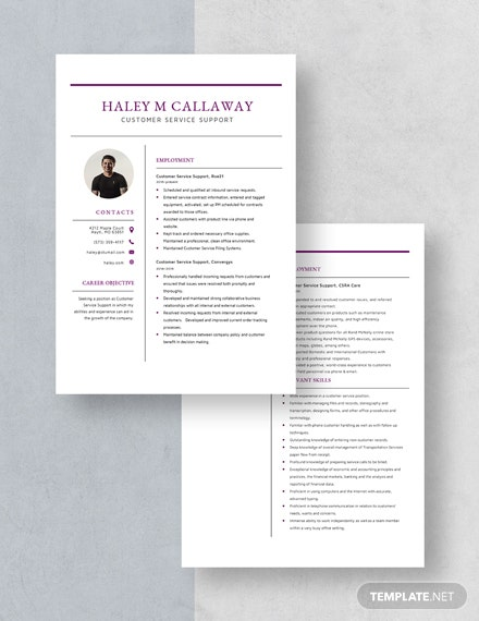 Customer Service Support Resume Download