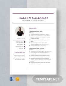 Customer Service Support Resume Template