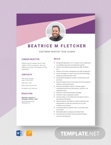 Customer Service Team Leader Resume Template
