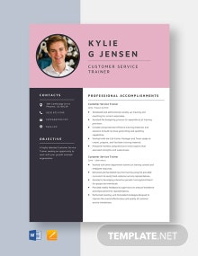 Customer Service Trainer Resume Template