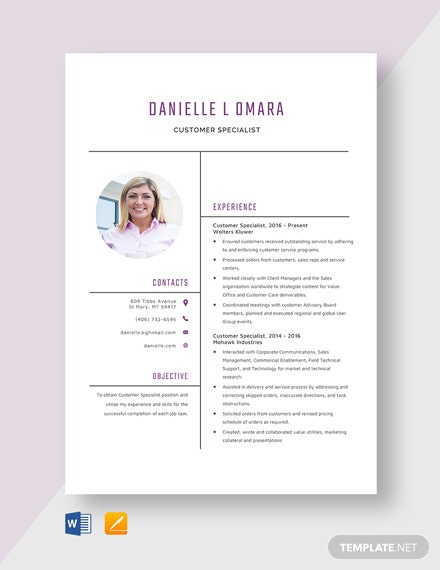 Customer Specialist Resume Template