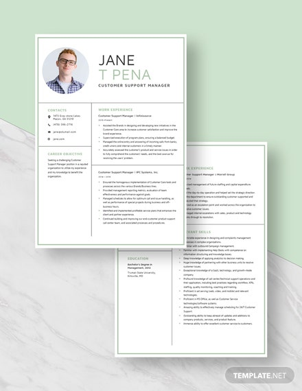 Customer Support Manager Resume Download