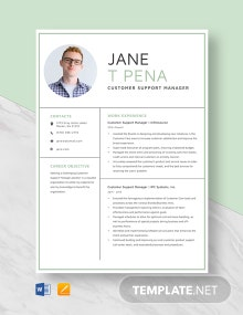 Customer Support Manager Resume Template