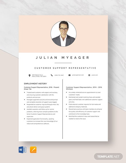 Customer Support Representative Resume Template