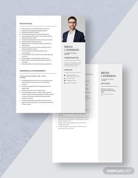 Customer Technical Support Resume Download