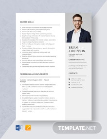 Customer Technical Support Resume Template