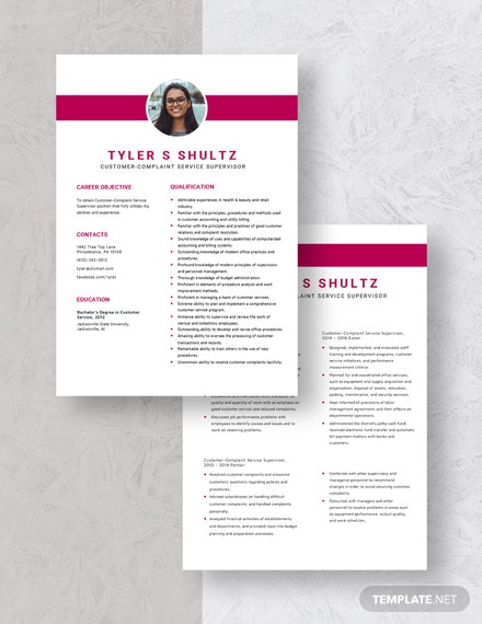 CustomerComplaint Service Supervisor Resume Download