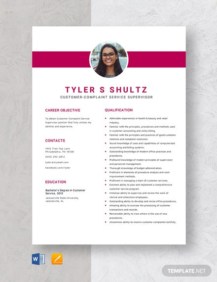 Customer-Complaint Service Supervisor Resume Template