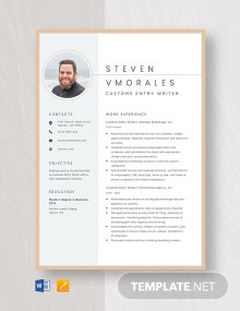 Customs Entry Writer Resume Template