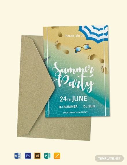 FREE Summer Pool Party Invitation Template