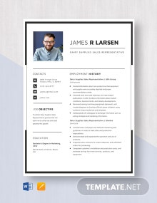 Dairy Supplies Sales Representative Resume Template