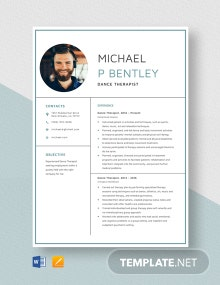 Dance Therapist Resume Template