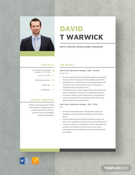 Data Center Operations Manager Resume Template