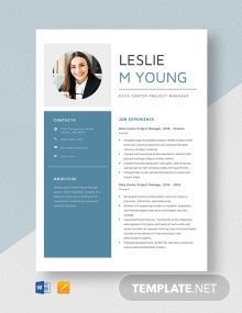 Data Center Project Manager Resume Template