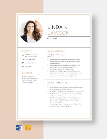 Data Clerk Resume Template