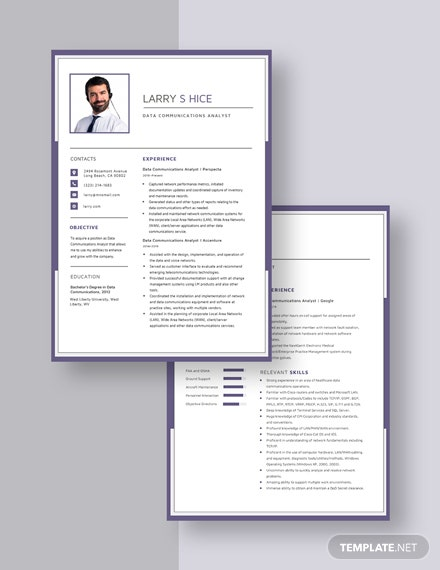 Data Communications Analyst Resume Download