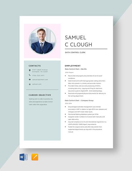 Data Control Clerk Resume Template