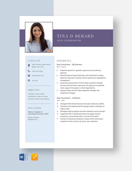 Data Coordinator Resume Template