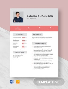 Data Entry Clerk - Start Resume Template