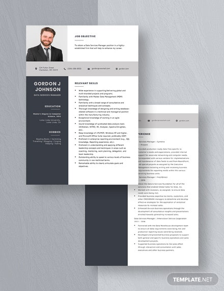 Data Services Manager Resume Download