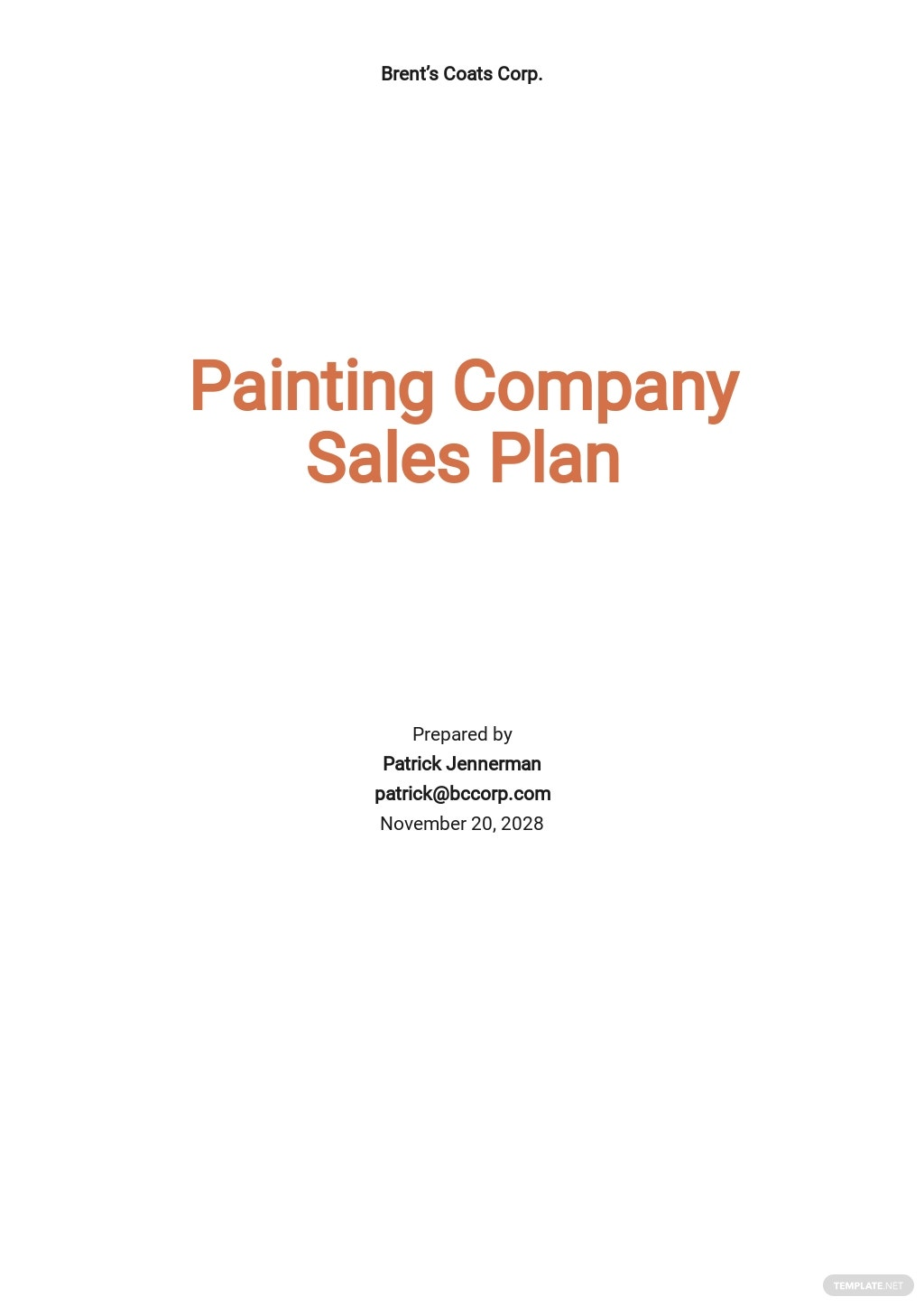 Painting Company Sales Plan Template