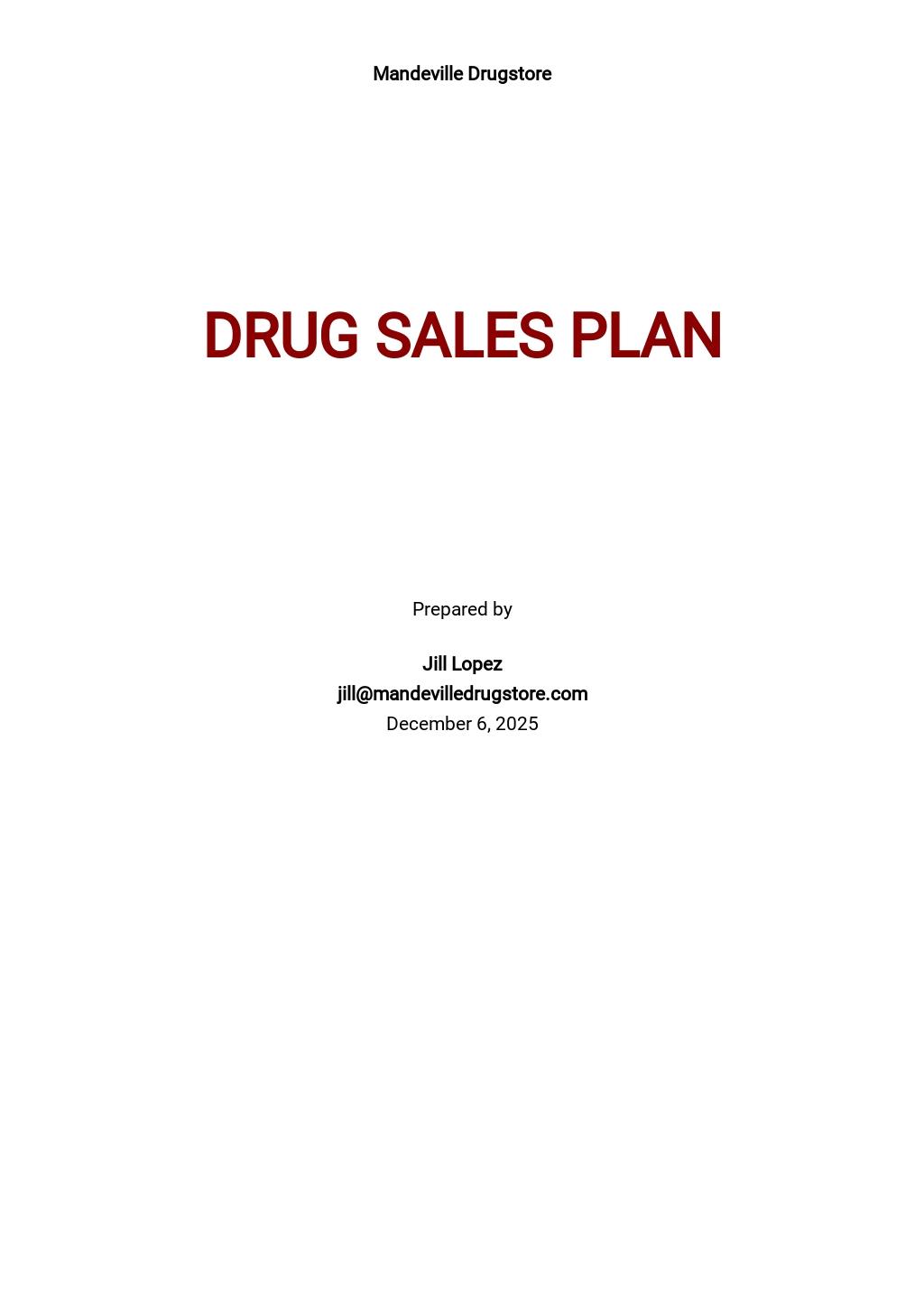 Pharma or Drug Sales Plan Template